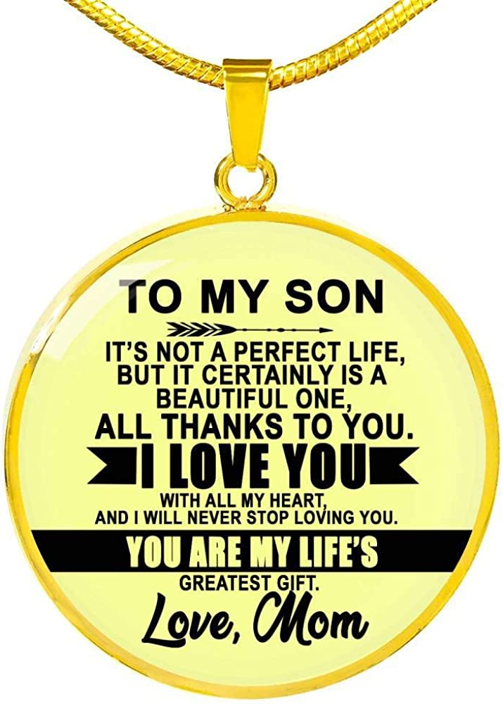 ThisYear My Son Necklace Chain from Mom Mother Son Pendant Silver Gold You are My Lifes Greatest Gift Love Mom Birthday Gag Gifts