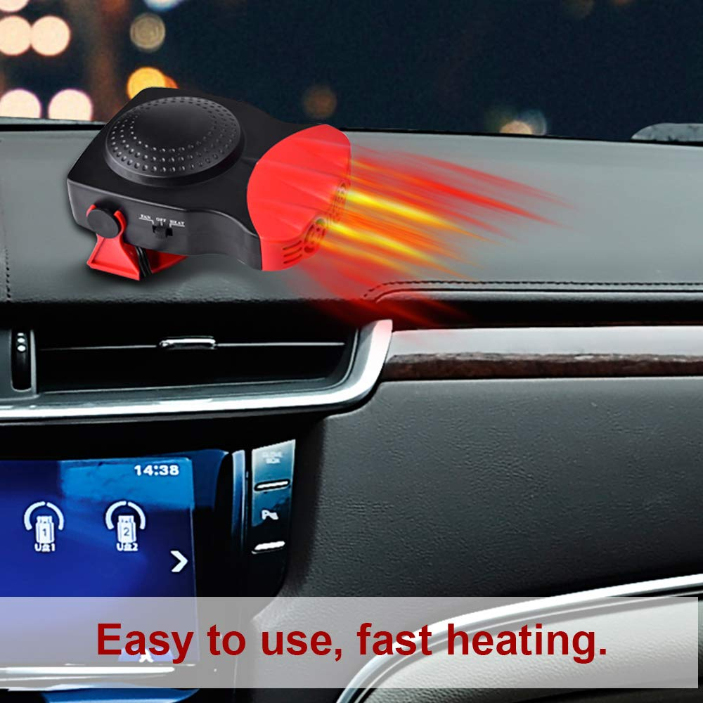 Z-H-C Best-1 Portable Car 30 Seconds Fast 12V 150W Auto Ceramic Cooling Fan 3-Outlet Red