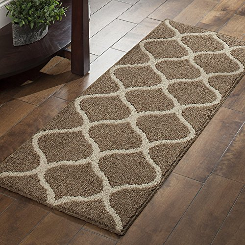 Maples Rugs Kitchen Rug Set - Rebecca [3pc Set] Non Kid Accent Throw Rugs Runner [Made in USA] for Entryway and Bedroom, Café Brown/White by Maples Rugs (Image #5)