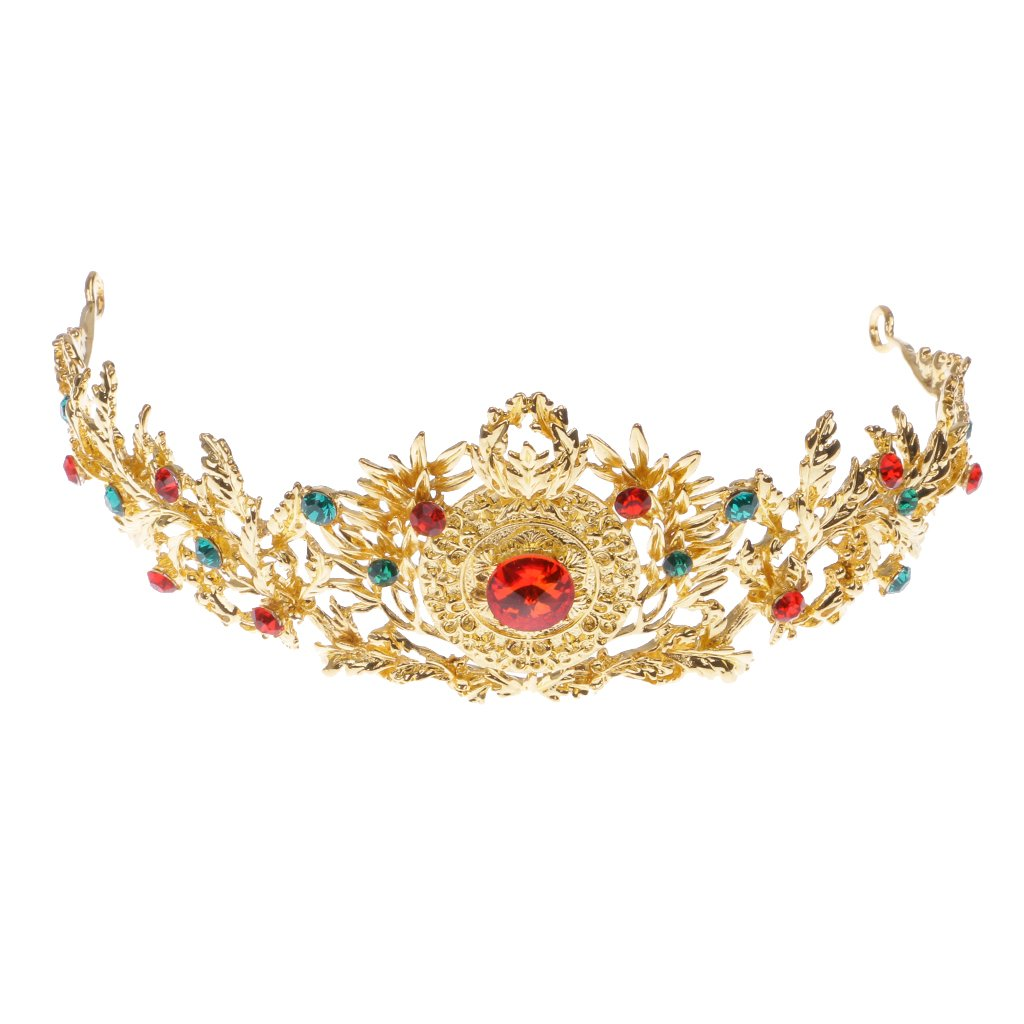 MonkeyJack Gold Alloy Metal Red Green Rhinestones Crystal Wedding Bridal Crown Tiara