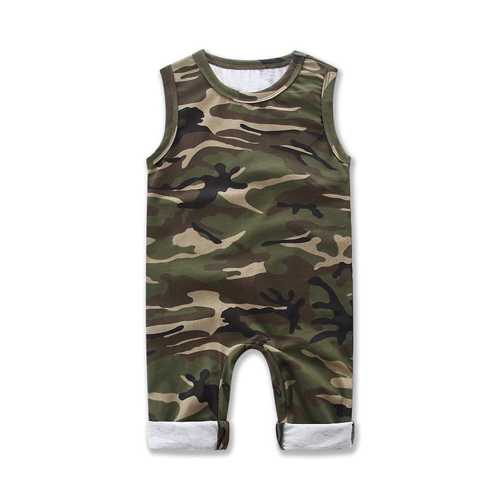 SAMBER- Bébé Romper Conjointé Vêtements de Camouflage Garçons sans Manches Camouflage Été à Manches Courtes Justaucorps (S:70cm)