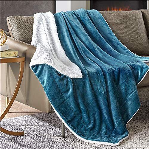 Hyde Lane Fleece Throw Blanket for Women - 2 Way Reversible Texture Warm Sherpa with Cozy Fuzzy Faux Fur - Teal, 50x60