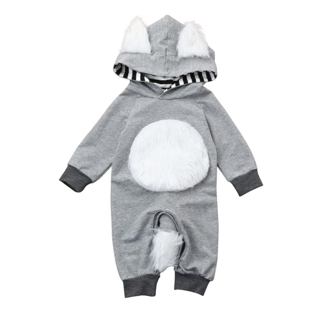 Perman Baby Boys Girls Striped 3D Animal Hooded Romper Jumpsuit Clothes PM-919