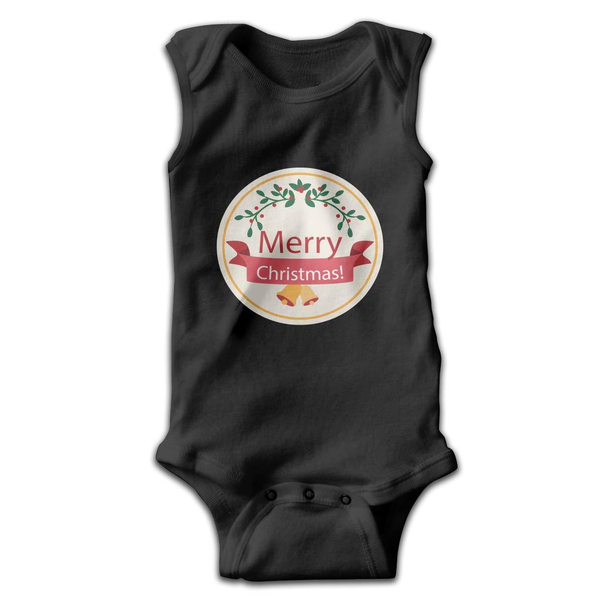 Efbj Newborn Baby Girls Rompers Sleeveless Cotton Onesie,Merry Christmas Circle Bodysuit Spring Pajamas