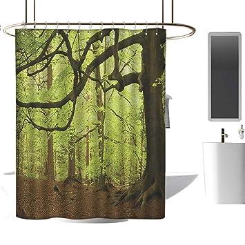 Amazon.com: Forro de cortina de ducha, bosque, otoño en ...