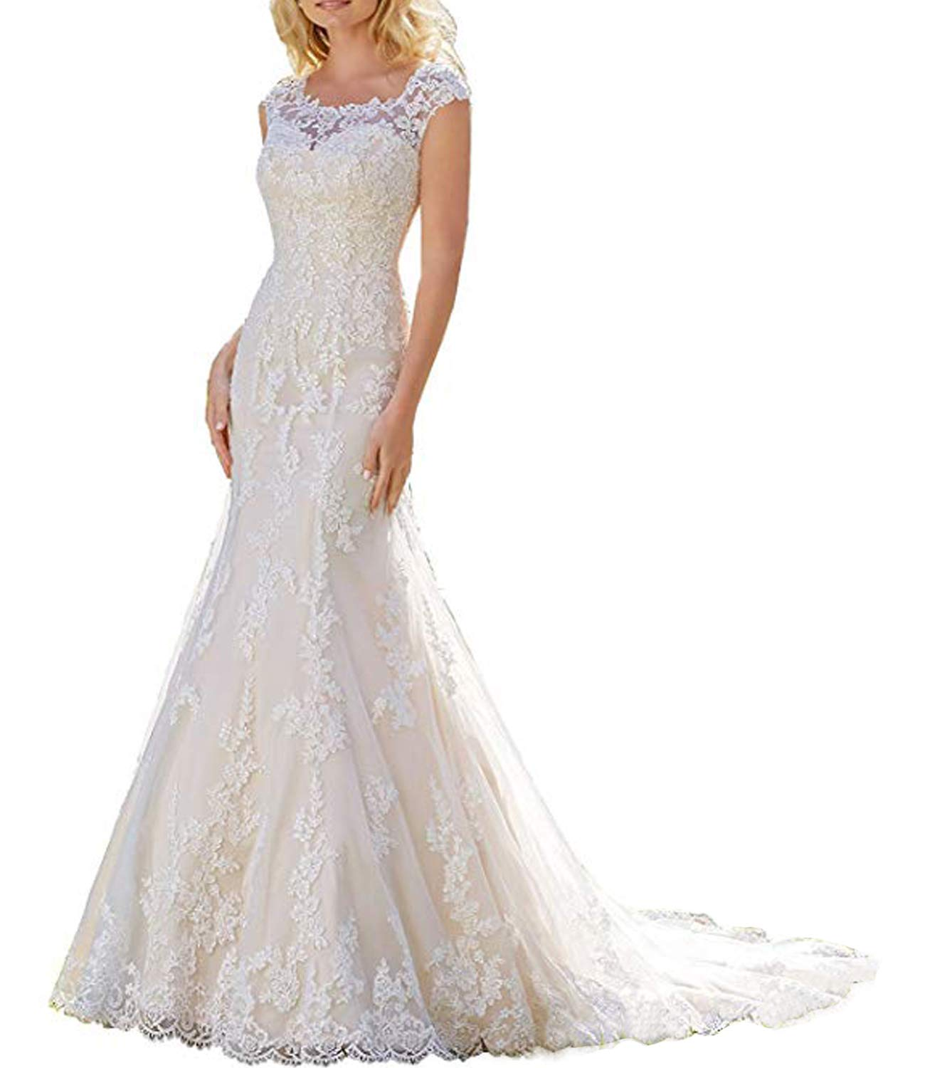 Alanre Scoop Mermaid Wedding Dresses Cap Sleeve Transparent Lace Bride Gown  Ivory 14