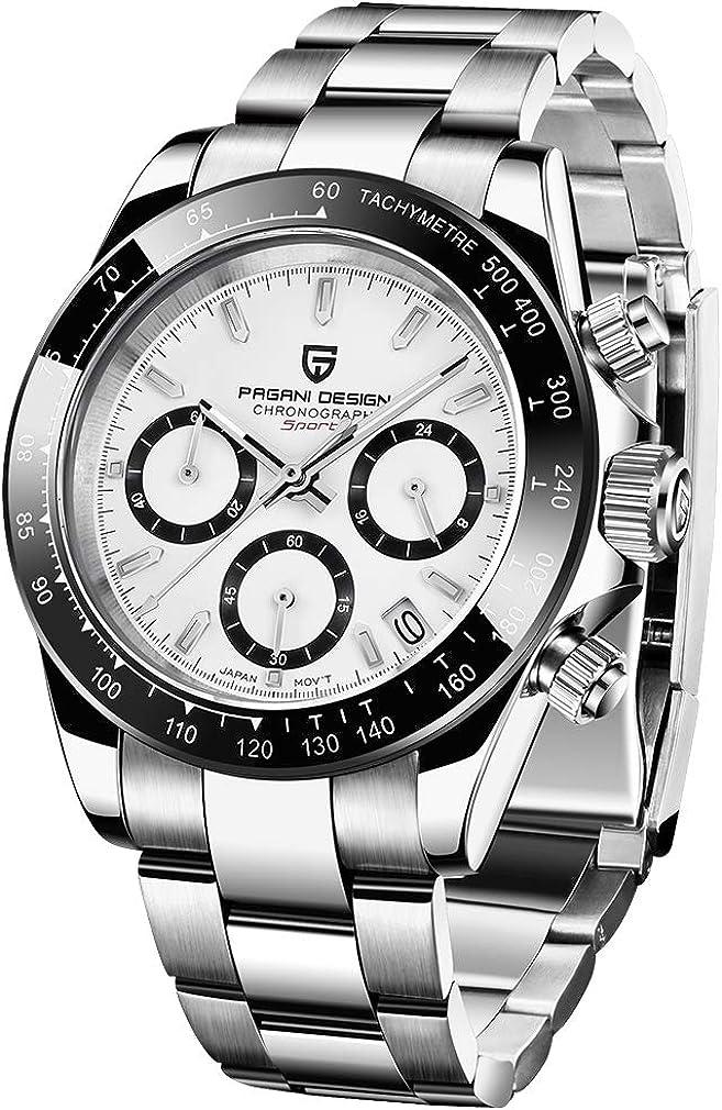 PAGANI DESIGN - Reloj de cuarzo para hombre, movimiento japonés, cronógrafo, acero inoxidable, multifunción, resistente al agua