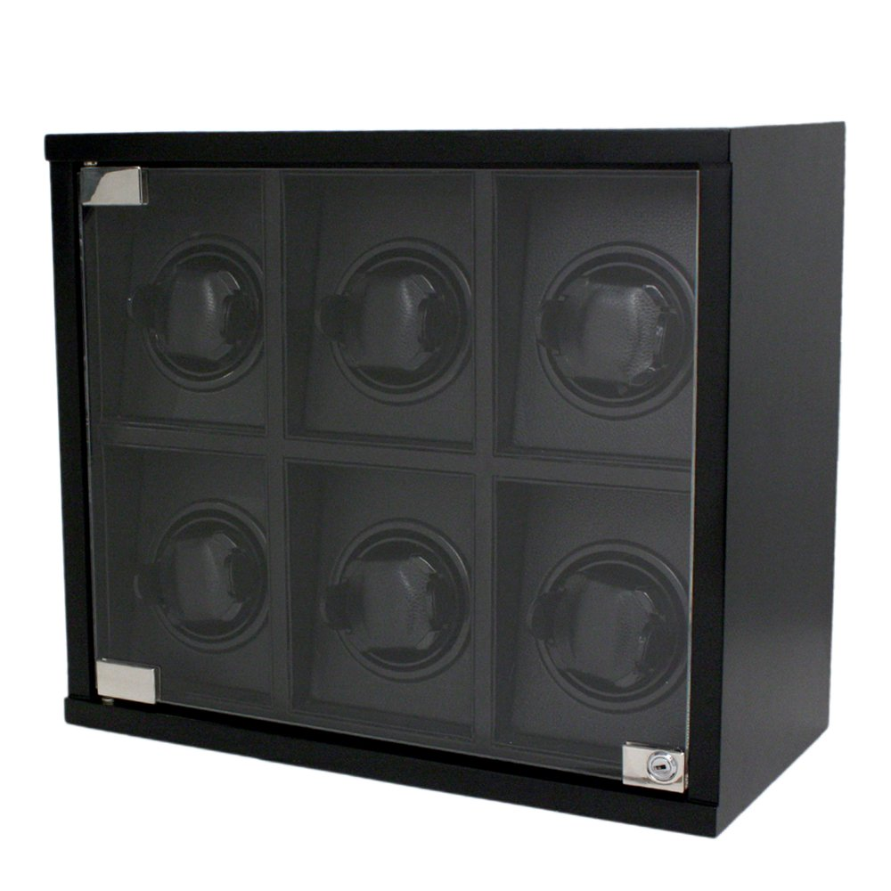 Tech Swiss Watch Winder For 6 Wood Black Carbon Fiber Design for Automatic Watches by Tech Swiss