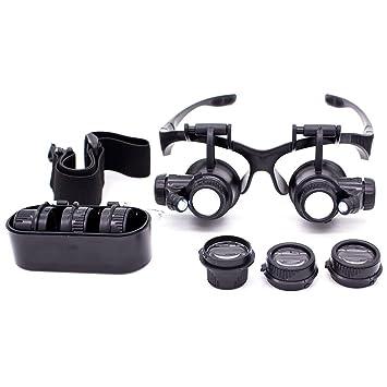 ecafc322cb92c Oculos Lupa Cabeça 8 Lentes Led Alto Brilho Até 25x Aumento  Amazon.com.br   Papelaria e Escritório