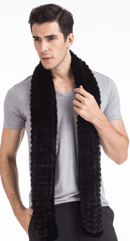 Vogueearth Mens Real Knitted Mink Fur Autumn Winter Long Scarf Black by vogueearth (Image #6)