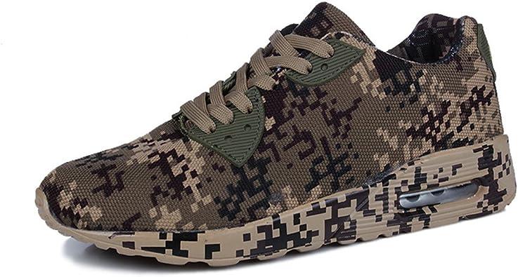 Hombres Mujer Camuflaje Zapatos de Deportes Air Trekking Fitness Zapatillas 4cm Marrón Verde Blanco Marrón 44: Amazon.es: Zapatos y complementos