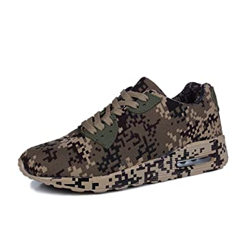 Camouflage Sneakers Trailing Jogging Sports Air Shoes Mens Womens Couple 4cm Brown Green White 36-44