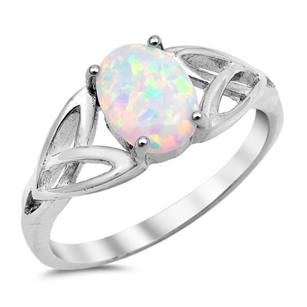 Solitaire White Simulated Opal Celtic Knot Ring .925 Sterling Silver Band Sizes 4-12 Sac Silver