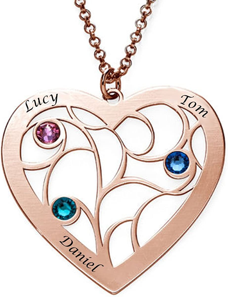 BY Tree of Life Birthstone Personalized Family Name Necklace-Custom Made with 7 Names Attentive