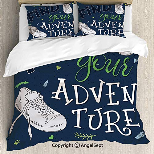 Luxe Bedding SetsYouthful Design Find Your Adventure Quote Forest Elements and Sneakers Decorative,Queen Size,Microfiber 3 Piece Beding Set Duvet Cover Set,Dark Blue Black Green