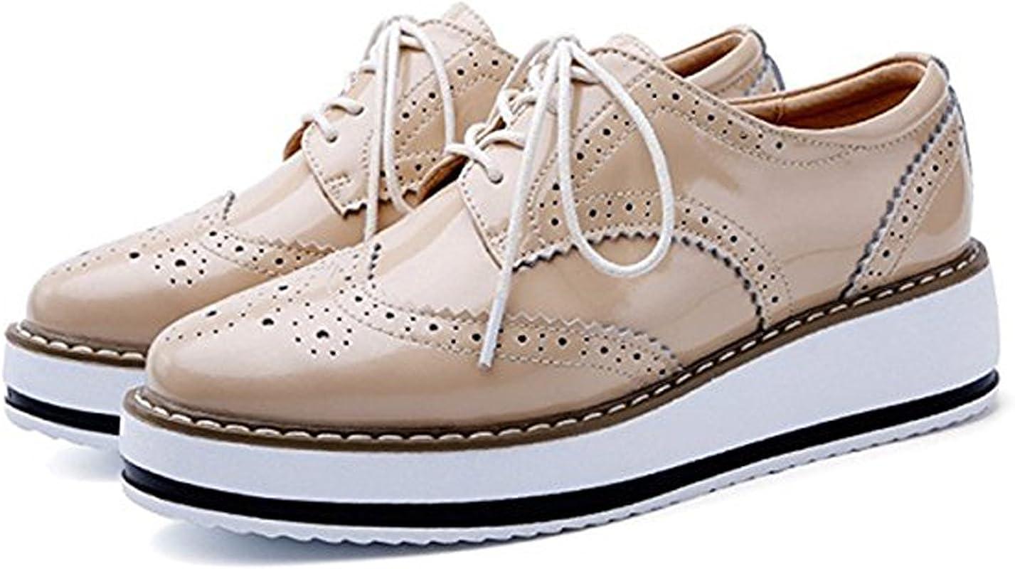 PPXID Schn/ürhalbschuhe Damen Oxford Brogues Halbschuhe Sneaker mit Keilabsatz
