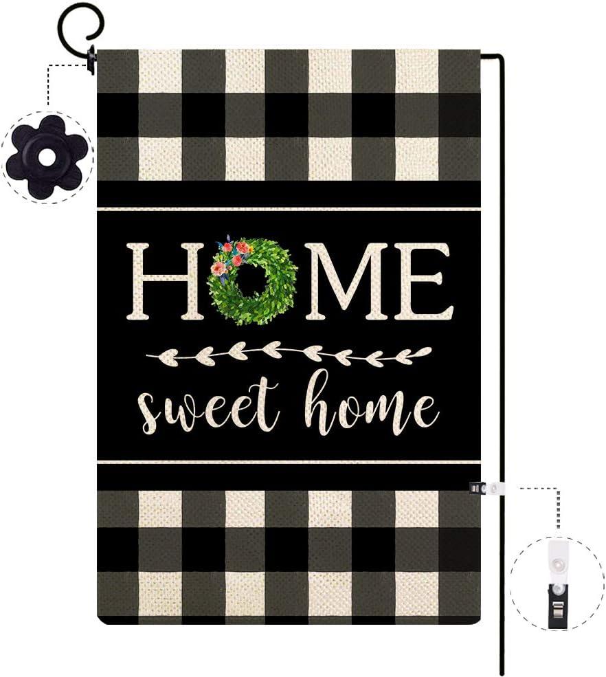 ORTIGIA Small Home Sweet Home Garden Flag Burlap Vertical Double Sided, Summer Fall Boxwood Wreath Buffalo Plaid Check Yard Outdoor Decoration,Seasonal Outdoor Flag 12.5 x 18inch