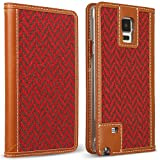 DesignSkin GN4WBTW4302 Galaxy Note 4 Case, Wetherby 100% Handcrafted Genuine Leather Fine Tweed Unique Design Id Credit Card Slot Banknote Storage Wallet Case - Tartan Check