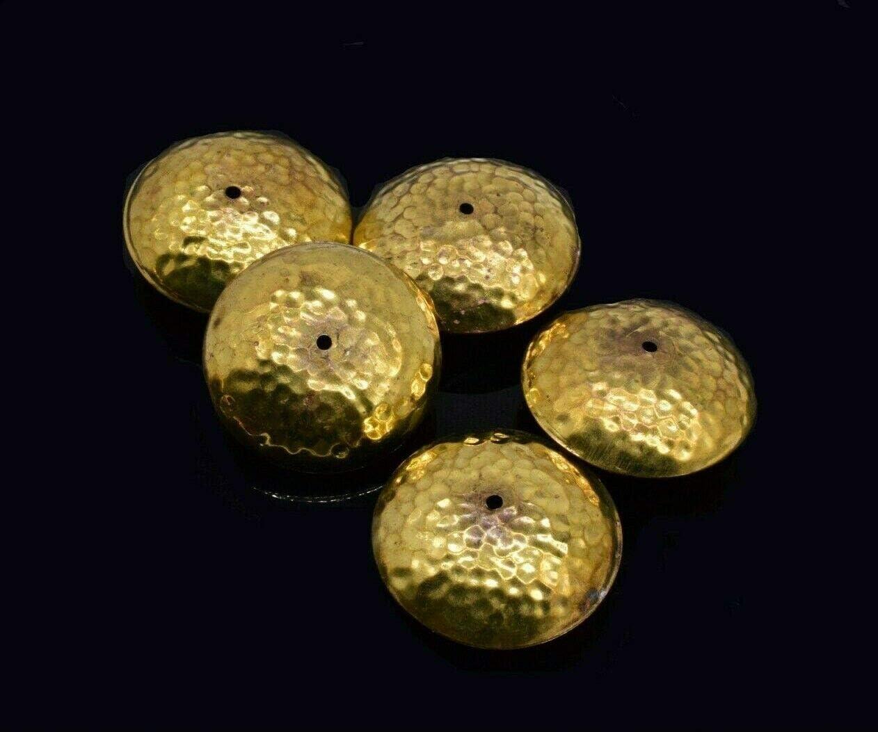 20 Vintage Round Gold Tone Hammered Bead 42 mm LH-362