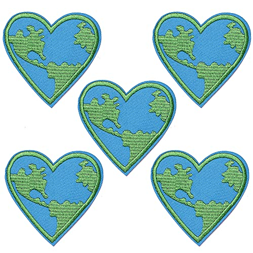 J.CARP 5Pcs Love Earth Heart Embroidered Iron on Patch for Clothes, Iron-on Patches / Sew-on Appliques Patches for Vest, Jackets, Backpacks, Caps, Jeans to Cover Holes / Logo, Size: 3x3 Inch