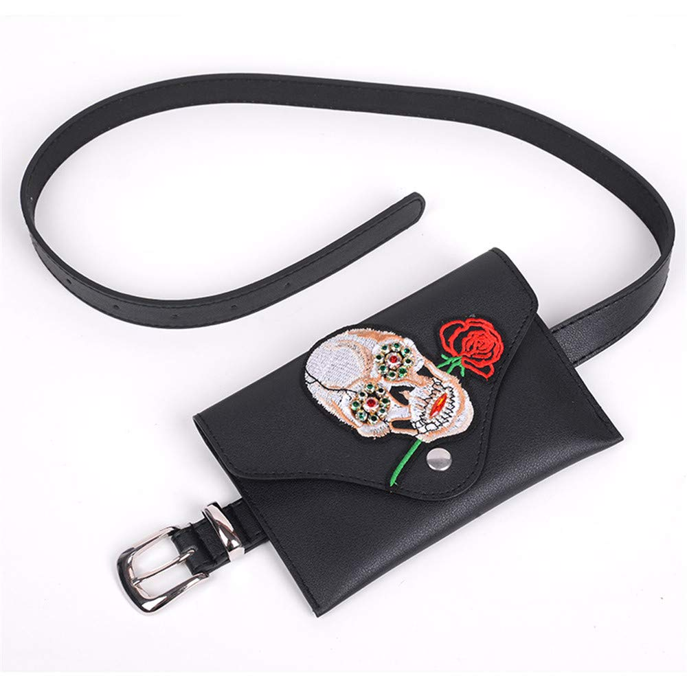 Pattern : Pattern C FeliciaJuan Small Women Waist Bag Belt Bag Rhinestone Embroidery PU Leather Fanny Pack Removable Belt with Waist Pouch Mini Purse Wallet Travel Cell Phone Bag