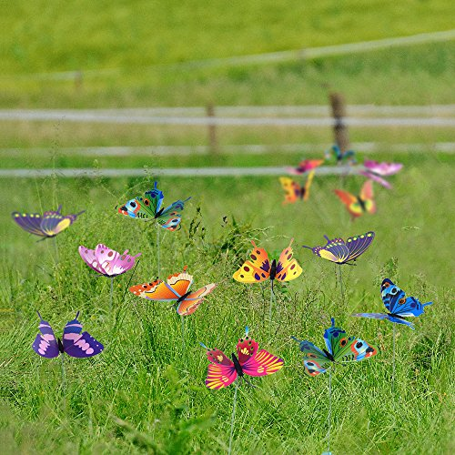 Austor garden decor 36 pcs 8cm butterfly stakes party for Outdoor butterfly ornaments