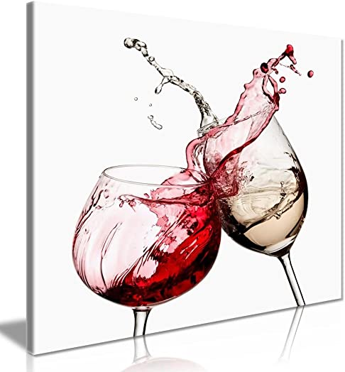 Wine Glasses Kitchen Wall Canvas Wall Art Picture Print 36x24in