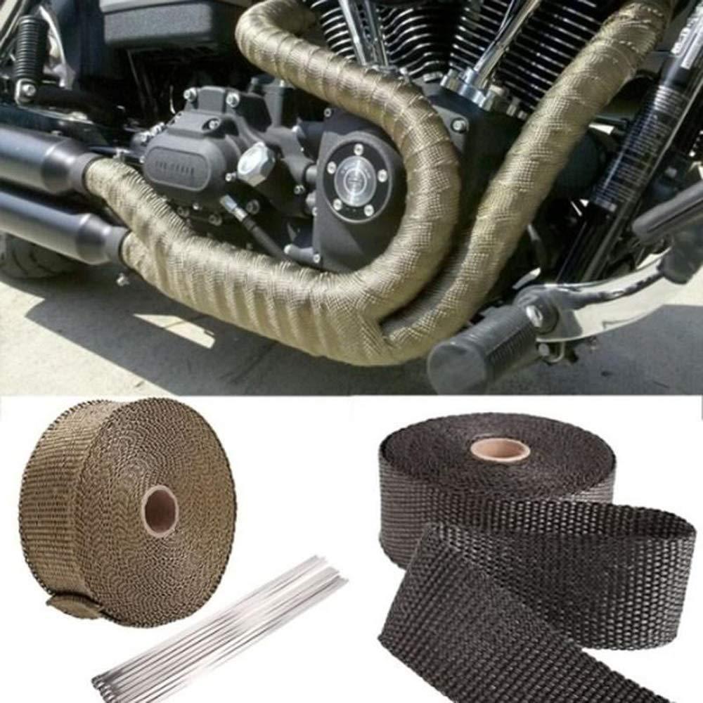 JUMOWA Hitzeschutzband Auspuffband Motorrad hitzeschutzband 5M mit Kabelbinder f/ür Auto Motorrad F/ächerkr/ümmer Thermoband