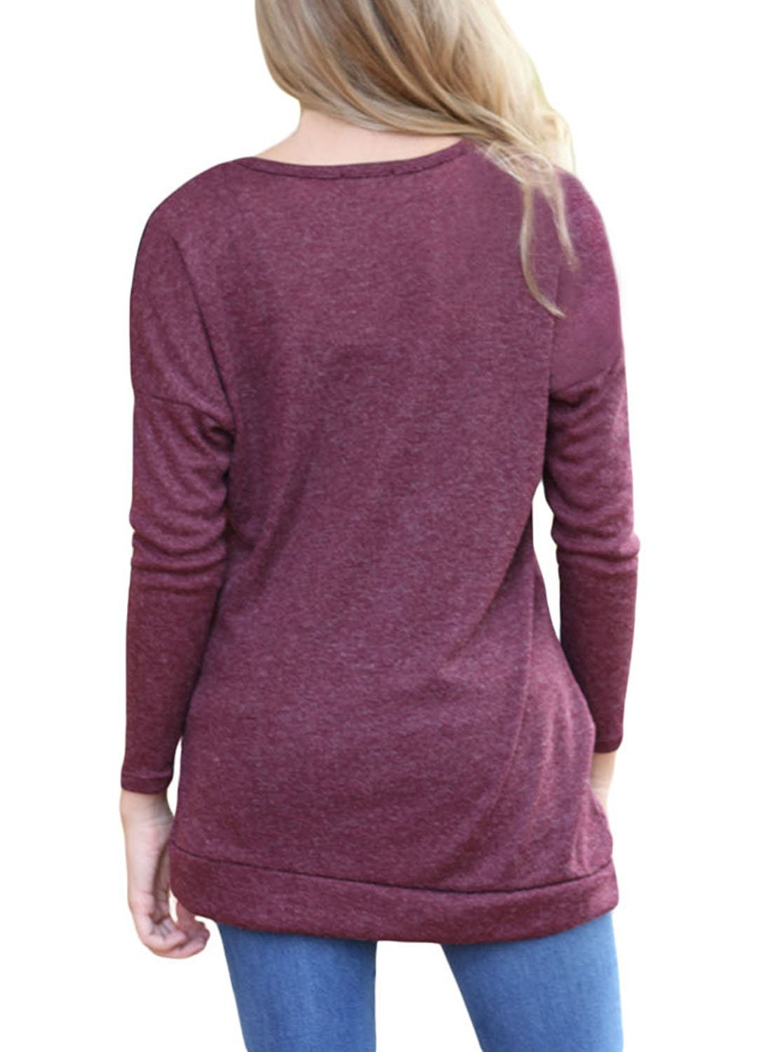 OURS Women's Casual Long Sleeve Round Neck Sweater (L, Wine Red) by OURS (Image #2)