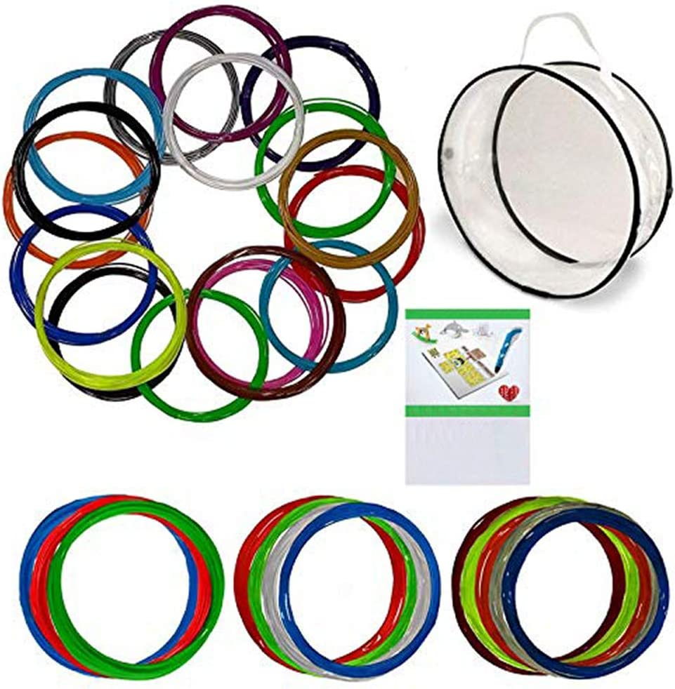 3D Pen Filament Refills - 1.75mm ABS Filament Bundle - 29 Colors Total 435ft Includes Transparent, Fluorescent, Glow in The Dark