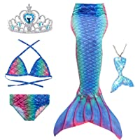 5Pcs Girls Swimsuit Mermaid Tails for Swimming Princess Bikini Bathing Suit Set (no Monofin) for 4T 6T 8T 10T 12T