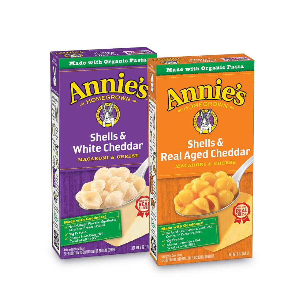 Annie's Macaroni and Cheese, Shells & Aged Cheddar, White Cheddar Macaroni and Cheese Natural, 12 Count by Annie's Homegrown
