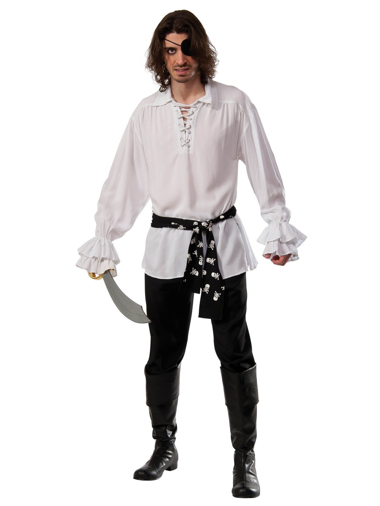 Rubie's Costume Co Men's Cotton Pirate Shirt, White, Standard