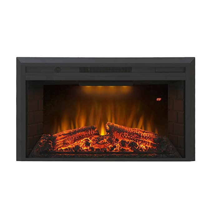Valuxhome Insert Embedded Fireplace Electric Heater 36 Inches, 1500W, Remote Control, Log Speaker, Black