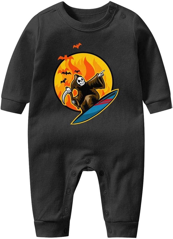 Death Skull Surfing on Flame Halloween Baby Boys Girls Long Sleeve Baby Onesie Bodysuit