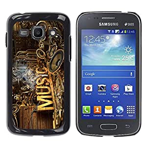 Qstar Arte & diseño plástico duro Fundas Cover Cubre Hard Case Cover para Samsung Galaxy Ace 3 III / GT-S7270 / GT-S7275 / GT-S7272 ( Music Speakers Art Love Rustic Band)