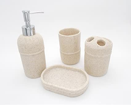 TOTO DEALS Soap Dispenser, Toothbrush Holder, Utility and Soap Dish Bathroom Sanitary Set (Brown) - Set of 4