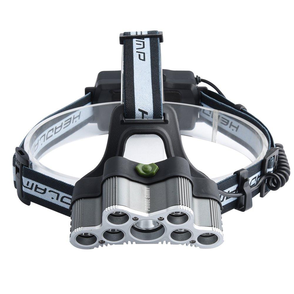 10/principales 5000/Lumens Ultra Lumineux 9/LED Lampe frontale Head Light avec batterie rechargeable pour le camping chasse randonn/ée et activit/és de plein air Phare LED