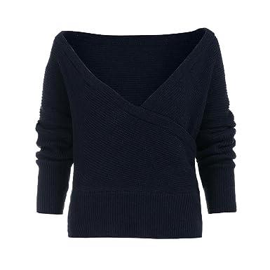Damen Tops Mantel Lose V-Ausschnitt Übergröße Pullover Strickjacke Outwear