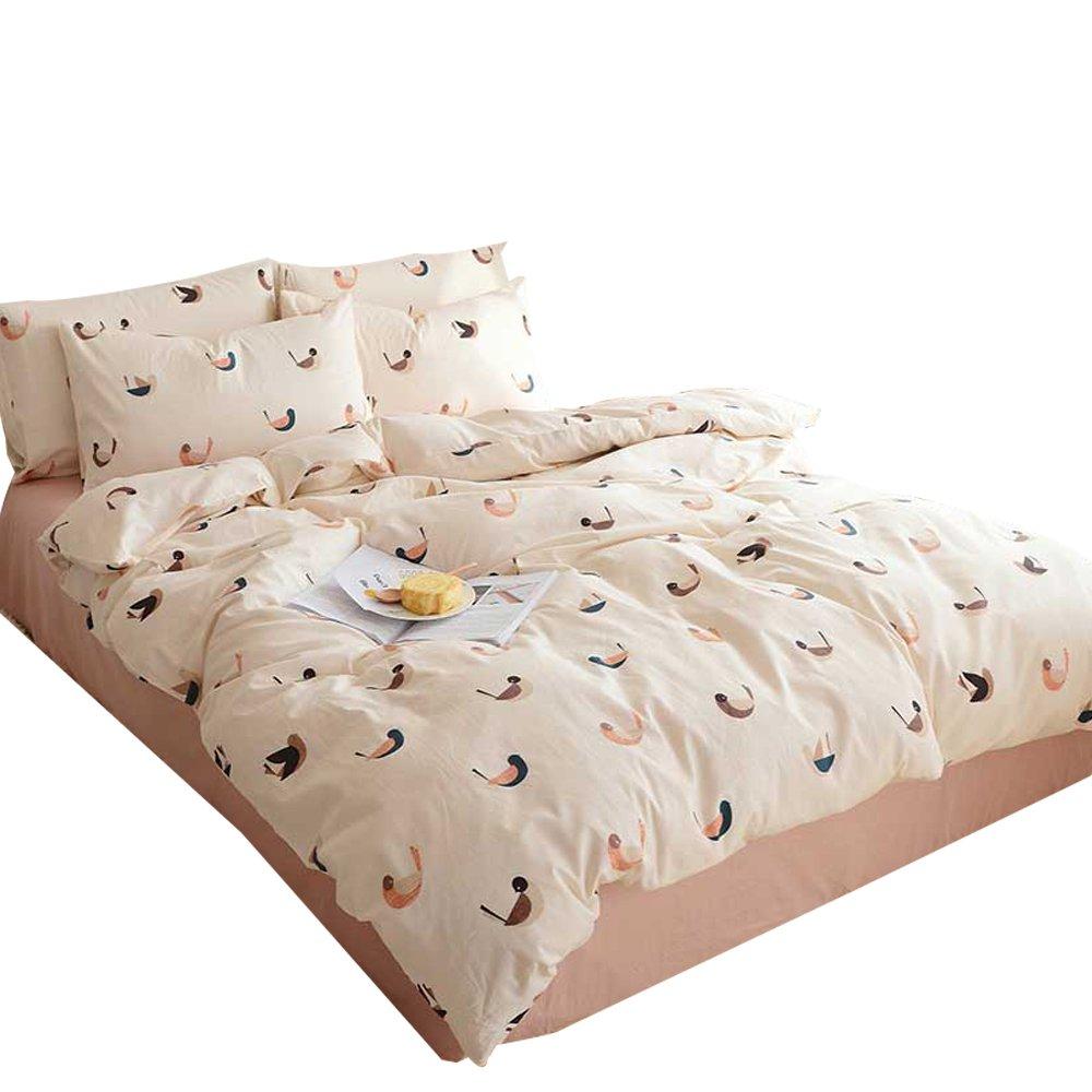ORoa Birds Queen Duvet Cover Set Cotton 100 Percent Reversible Bedding Sets Full Size for Teen Girls Women, Cartoon Animal Love Bird Pattern Bedding Collection