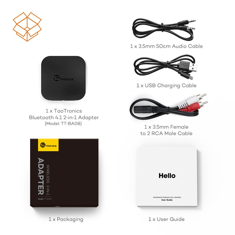 Bluetooth Transmitter and Receiver Taotrinics in the box