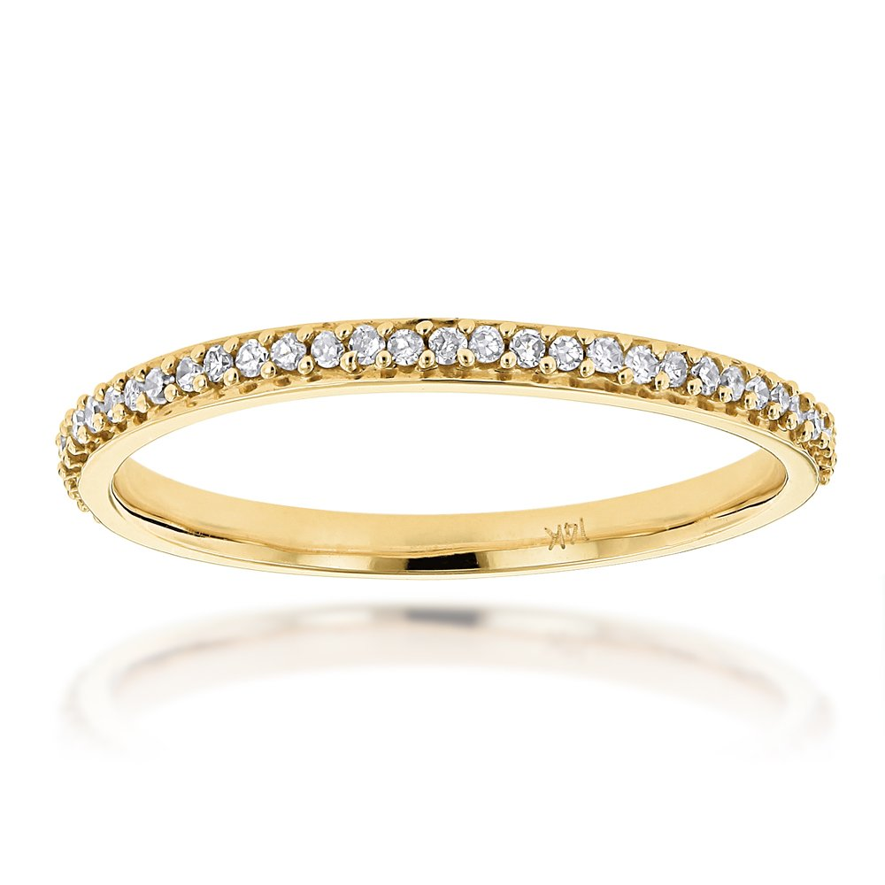 Luxurman Ladies Ultra Thin Stackable Natural 0.15 Ctw Diamond Ring Curved Design (Yellow Gold Size 6)
