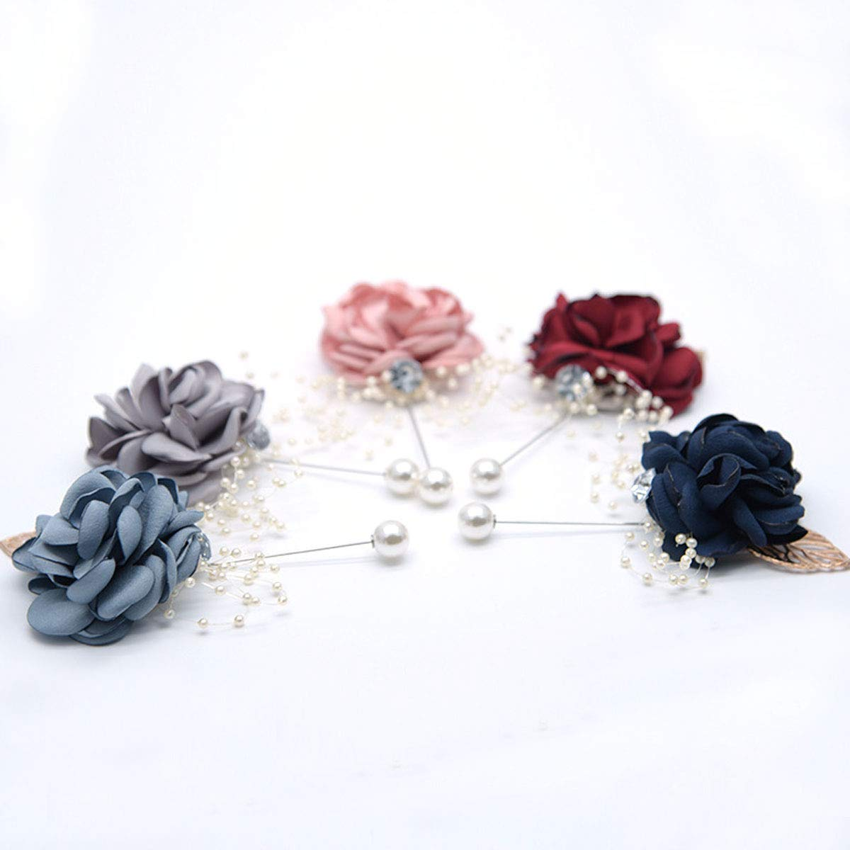 Pink Wrist Corsage Brooch Set of 4 Wedding Boutonniere Pins Groom Bridal Girl Wrist Flower Bracelet with Pearl Bead Wristband for Wedding Homecoming Prom Party Decor