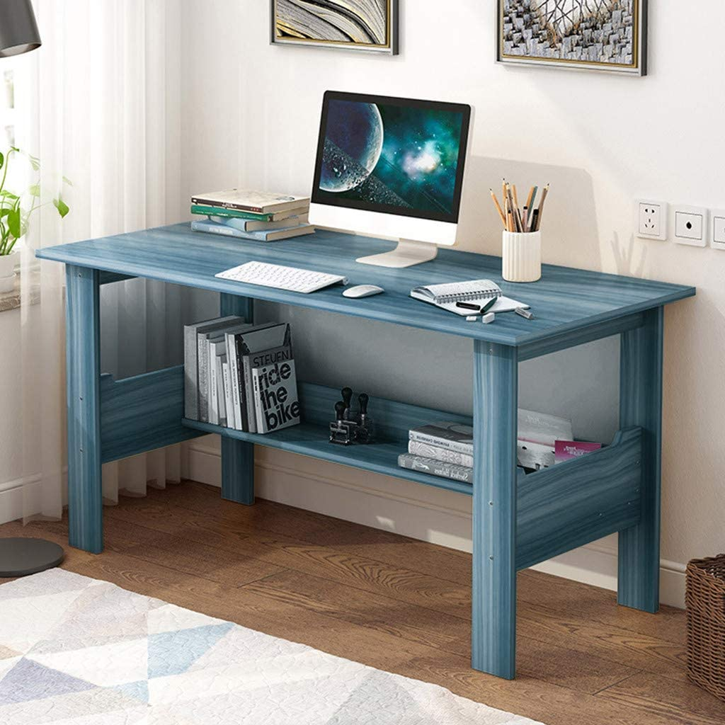 Jieson 39'' Simple Computer Desk Study Writing Desk for Home Office Small Space Modern Workstation Desk Laptop Writing Table (Blue)