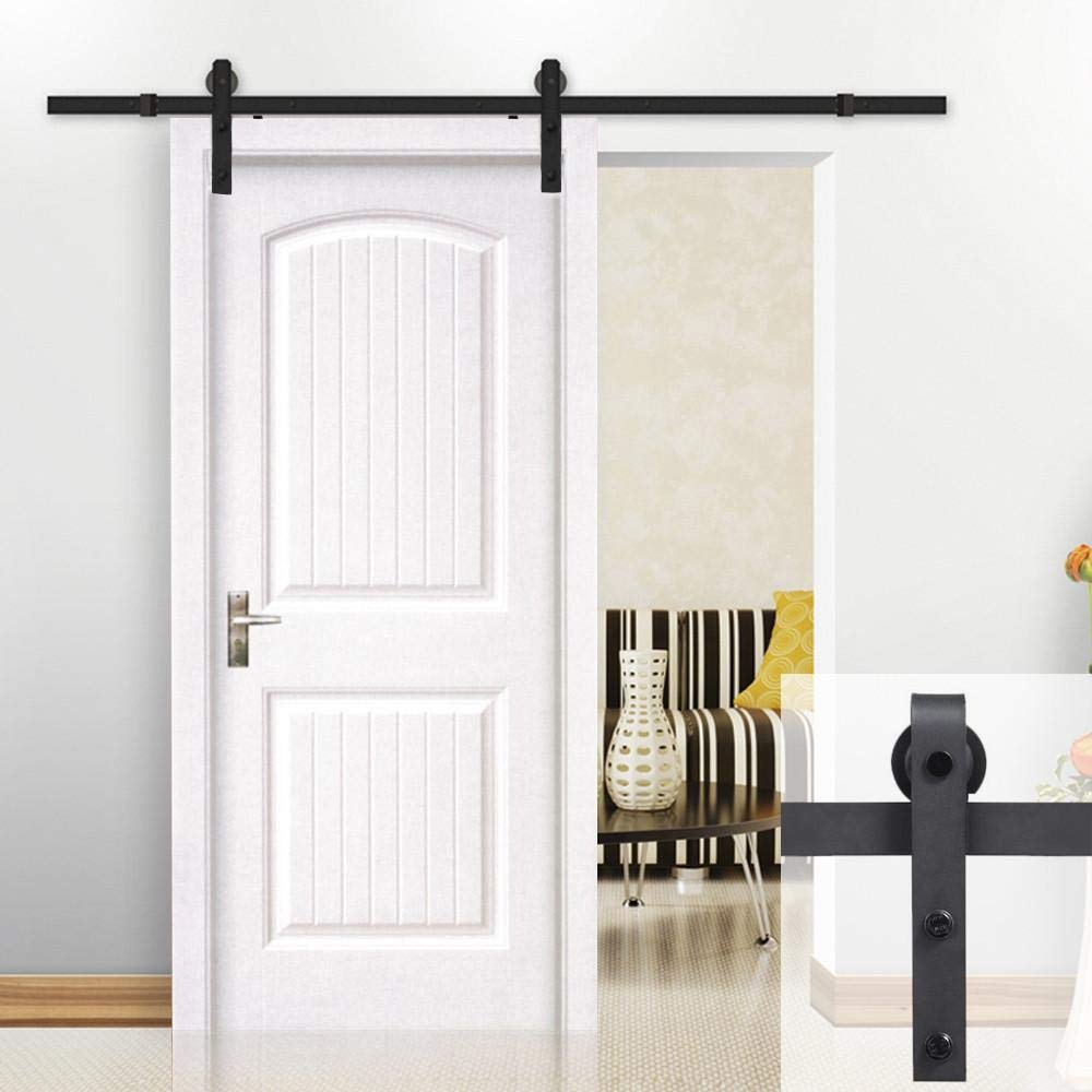 Yaheetech 8Ft Sliding Barn Door Hardware Kit Set Heavy Duty Sturdy Single Barn Door Track Antique Style Closet System Black