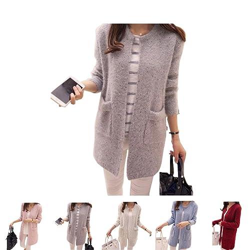 Masterein Mujeres Primavera / Otoño de longitud media jersey suéter de manga larga de Corea Slim Poc...