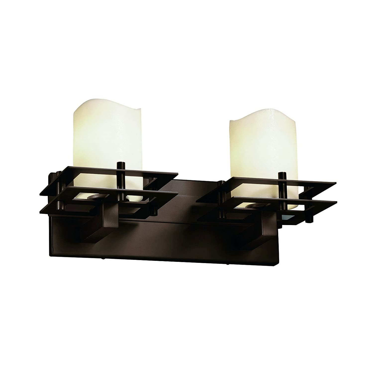 Dark Bronze Finish with Cream Faux Candle Resin Shade Justice Design Group CandleAria 2-Light Bath Bar