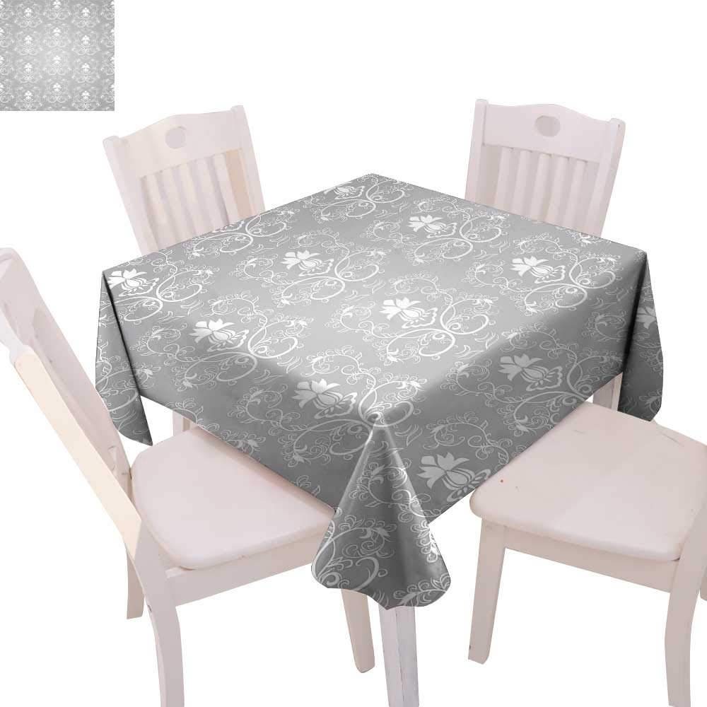 """cobeDecor Damask Printed Tablecloth Damask Style Antique Floral Motifs Pattern Royal Victorian Design Vintage Leaves Flannel Tablecloth 70""""x70"""" Gray and White"""