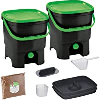 Skaza Bokashi Organko Set (2 x 16 L) Compostador 2X de Jardín y Cocina de Plástico Reciclado | Starter Set con Bokashi…