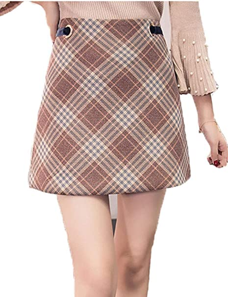 a1f11fd48f Women's Korean Elegant Mid Bodycon High Waisted Zip Back Plaid Hip Skirts  (0-2